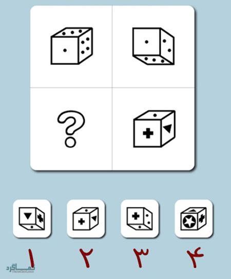 تست هوش تصویری گزینه صحیح آسان (14) + جواب